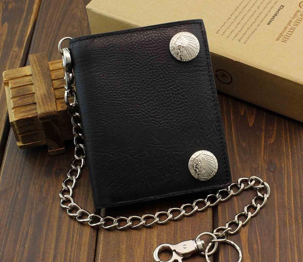 New Men/'s Biker Rocker Long Genuine Leather Zipper Wallet w// Purse Chain Black