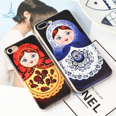 cartoon phone cases Phone Case For Apple Iphone 6S Case Lovely Cartoon Russian Dolls Soft Painted TPU Capa For Iphone 6s Plus Back Cover cartoon cases