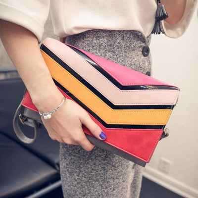 2017 Rainbow Women Clutch Bag Purse Handbag Designer Handbags High Quality PU Leather Envelope Clutch Crossbody Bags For Women