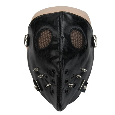Punk Personality Rivets Masks Steampunk Men Women Stage Performance Face Masks Halloween Costume PU Leather Mask