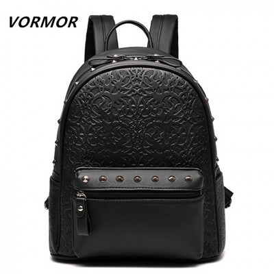 VORMOR Vintage casual new style leather school bags high quality women candy clutch ofertas famous designer brand backpack
