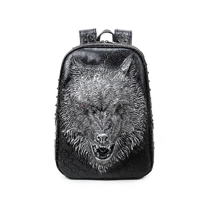 3D Leather Men Wolf Backpacks Gothic Steampunk Unique backpack cool bag steampunk fashion School Computer Bags Silver Gold Black Fashion Rivet Bags Vintage Halloween Bags