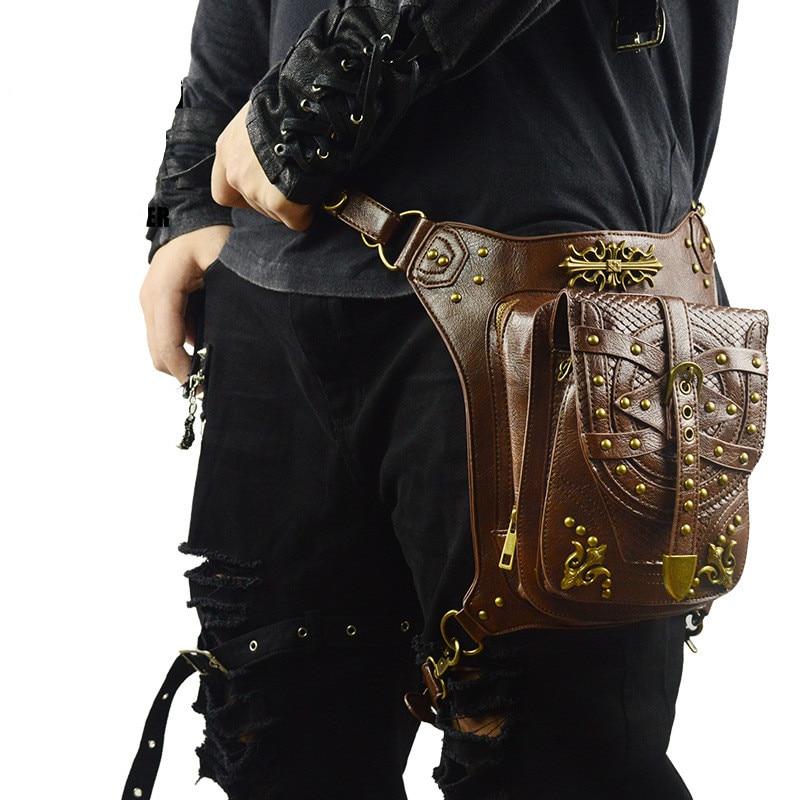 Brown Steampunk Leg Thigh Hip Holster Wallet Purse Pouch Mini Backpack Waist Packs/Messenger Bag SteamPunk Leg Thigh Bag