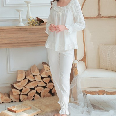 Ladies Pajamas Sets For Women Fashion White Lace Cotton Pijama Autumn Nightwear Plus Size Lingerie Two Piece Set Loungewear