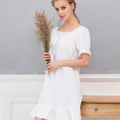 Summer Sleep Wear Night Shirt Home Dress White Cotton Nightgown Nightwear Women Plus Size Sleepwear Plain Nightdress Nighty