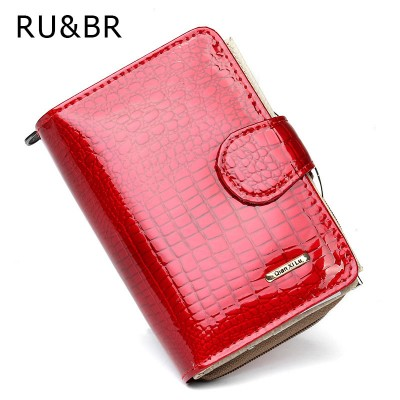 RU&BR Coat Of Paint Womens Wallet New Fashion Purse Women's Cowhide Clutch Zipper Credit Cion Pocket Card Holder Genuine Leather