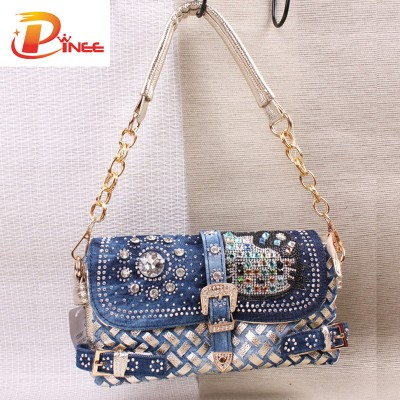 Rhinestone Handbags Designer Denim Handbags fashion diamond women shoulder bags designer handbags high quality woven  jean bags brand