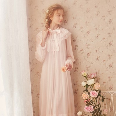 Lace Robe Women Summer Long Gowns Sexy Bathrobe Bride Morning Gowns Long Sleeve Robe Set Elegant goddess Sleepwear Gown 2 pcs