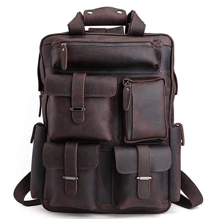 Original Brand Dark Brown Mens Retro Full Grain Genuine Leather 17 Inch Laptop Backpack Multi Pockets Large Capacity Shoulder Bag Travel Bag