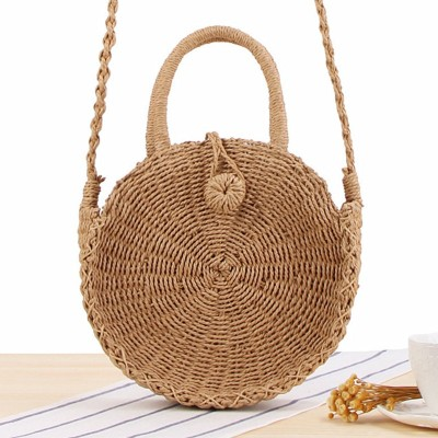 Round Straw Bag Handmade Rattan Woven Vintage Retro Straw Rope Knitted Women Crossbody Handbag Fresh Summer Beach Bag