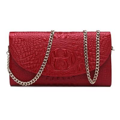 2017 autumn new crocodile pattern leather female header layer of leather clutch handbag shoulder chain bag