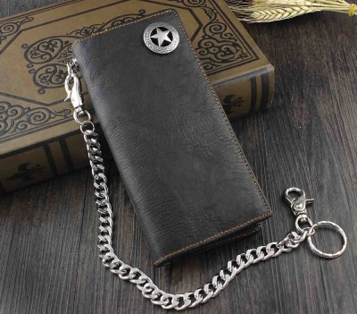 High Qualit Biker Rock Star Concho Mens Card Money Leahter Wallet  Chain