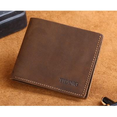 Tiding Leather Money Clip Men Retro Purse Top Quality Soft Leather Front Pocket Wallet 4095