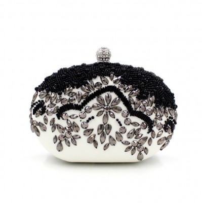 Luxurious Crystal Beading Evening Bag Women Flower Dress Clutch Bags Hard Clutch Purse Crystal Party Bag Banquet Wallet