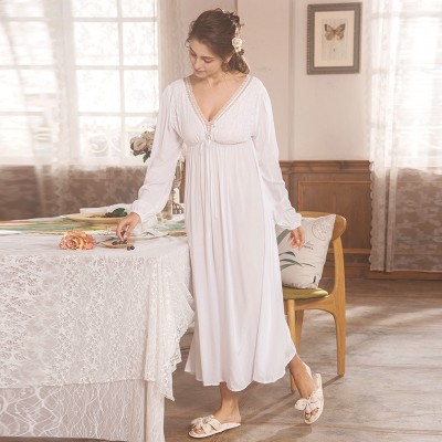Classic Nightgown White Lace Cotton Viscose Nightdress Women Sleepwear  Summer Autumn Sexy Pregnant woman Nightgown