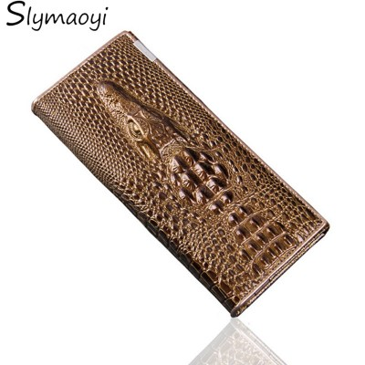 MFS Women Wallet Female Coin Purses Holders 100% Genuine Leather 3D Embossing Alligator Fashion Crocodile Long Clutch Wallets