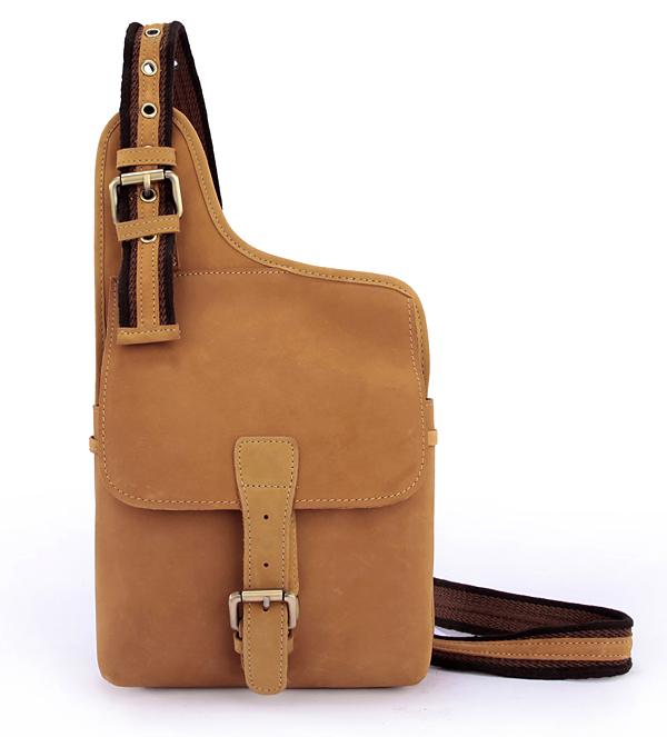 Crazy horse leather men messenger bags business man chest pack mens ... 582cbc1eae34b