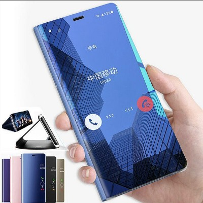 Luxury Clear View Mirror Smart Case For iPhone X 7 8 6 6s Plus XS MAX XR Leather Flip Phone Case For iPhone X 7 8 Cover