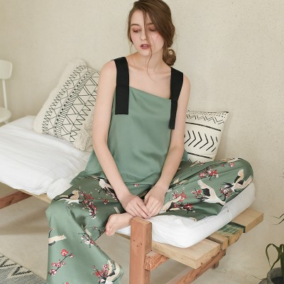 Sling Sleepwear Women Summer Pajamas Loose Pajamas Ladies Wide-leg Trousers Casual Fashion Homewear Can be worn outside