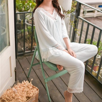 2019 Vintage V-Neck Long Pajama Set Spring Summer Sleepwear Women Home Wear Cotton Lining Pyjamas Femme Indoor Clothing T445