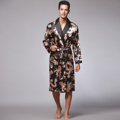 peignoir homme Autumn Long Sleeve Couple Robe Male Bathrobes Silk Pajamas Mens Long Robes Home Service sleep lounge bathrobe