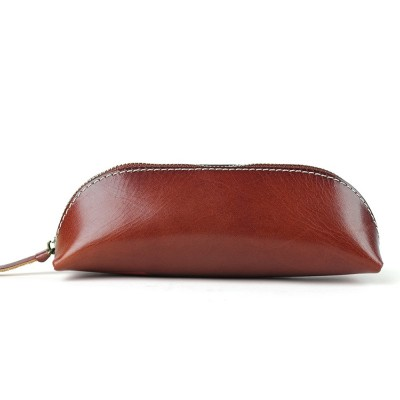 New Vintage Cowhide Zipper Student Pencil Case Genuine Leather Handmade Pen Case Pen Bag Glasses Case Office Coin Purse