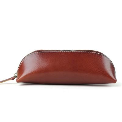 New Vintage Cowhide Zipper Student Pencil Case Genuine Leather Handmade Pen Case Pen Bag Glasses Case Office Coin Purse