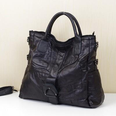 Bolsas Feminina Genuine Leather Sheepskin Handbags  Crossbody Bags Solid Black Tote Bag Shoulder Messenger Handbag Designer
