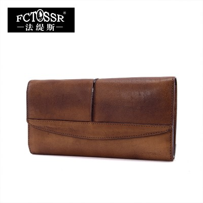 2017 Vintage Genuine Leather Magnetic Buckle Handmade Large Capacity Casual Day Clutch Womem Wallet