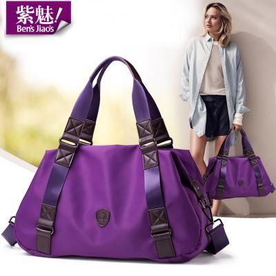 Bensjiaos women brand european vintage purple shoulder bag ladies casual waterproof nylon handbag classic black messenger bags