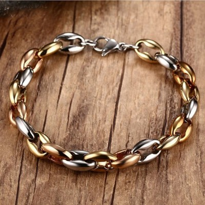Mens Jewelry Two Tone Stainless Steel Oval Link Chain Bracelet Gothic Punk Bracciale Pulsera Pulseras Femmininas Bijoux