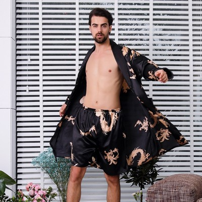 Two-piece Suit Male Silk Dressing Gown  Extra large Robe With Dragons Mens Satin Bathrobe Silk Kimono Men 1287