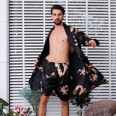 Two-piece Suit Male Silk Dressing Gown  Extra large Robe With Dragons Mens Satin Bathrobe Silk Kimono Men 1287