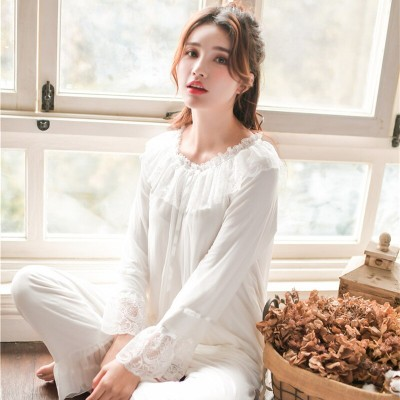 2019 Elegant Ruffled Pajama Set Sleepwear Women Pyjamas Femme Home Wear Cotton Lining Pijama Suit Night Set Indoor Clothing