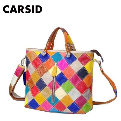 CARSID Genuine Leather Large Tote Bag For Women Shoulder Bags For Girls Luxury Handbags Women Bags Designer Brand Famous