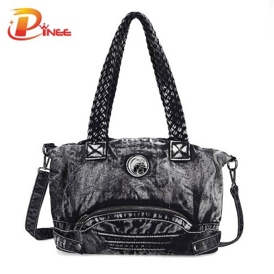 Vintage Denim Shoulder Handbags Women Punk Denim Handbag Female Casual Vintage Weaving Commuter Tote Lady Retro Fashion Brand Denim Tote Bag
