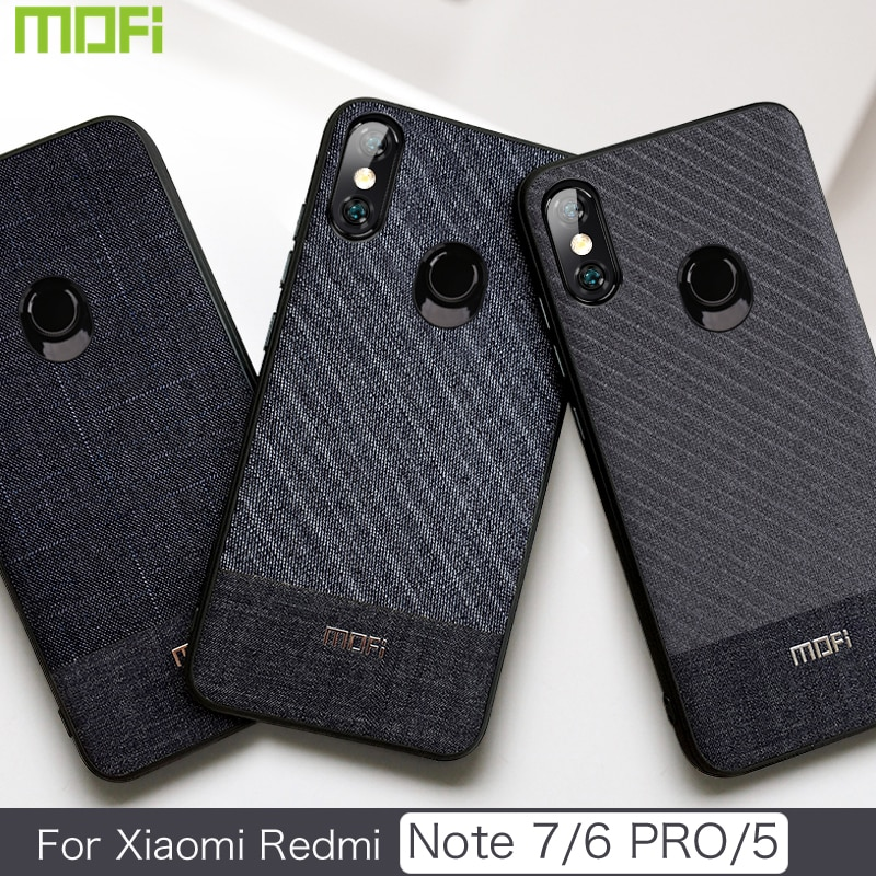 sports shoes b8ee8 cbf08 Xiaomi Redmi Note 7 Case Mofi Redmi Note 5 Case Back Cover For Xiaomi Redmi  Note 6 Pro Cover Fabric Gentleman Phone Case