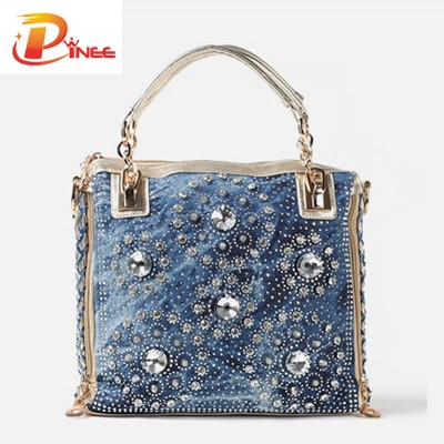 Rhinestone Handbags Designer Denim Handbags Gold and Sliver denim jean casual women handbags designer weaving shoulder bags rhinestone decorative womens messenger bag totes