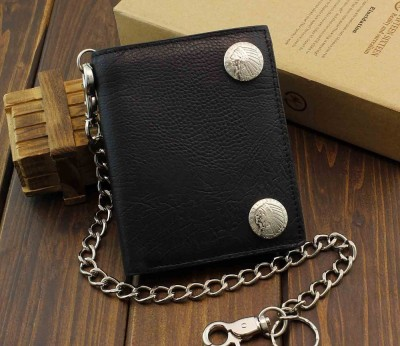 New Style Biker Motorcycle Rock Thick Black Leather Wallet With Chain