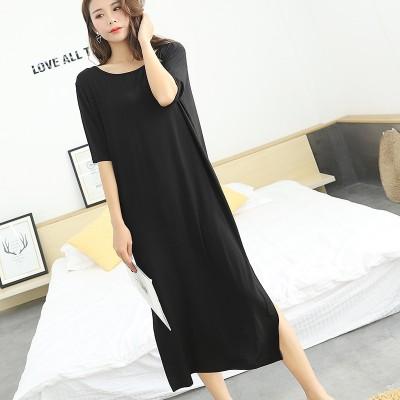 women sleep dress sexy 2019 summer new aunt backless nightdress modal cotton short-sleeved long dress sleepwear home clothing