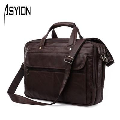 ASYION 100% Real Genuine Leather Bag Men Briefcase Handbags Vintage Travel Messenger Bag Portfolio Laptop Shoulder Bag DB4743