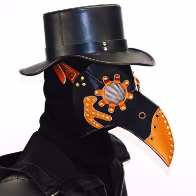 Halloween Party Vintage PU Beak Mask Steampunk Plague Doctor Masks Costume Prop Bird Mouth Design Mask Party Accessory