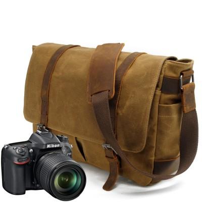 Women Mens Vintage Canvas School Real Leather Military Travel Shoulder Crossbody Bag Messenger Sling Digital Camera Bag Satchel