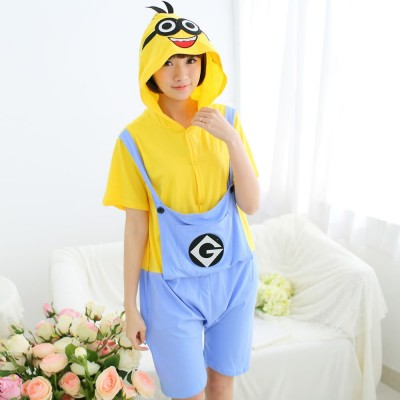 Spring summer sleepwear Despicable me onesies short sleeved pajamas cartoon animal men women cotton couple nightgown All in one