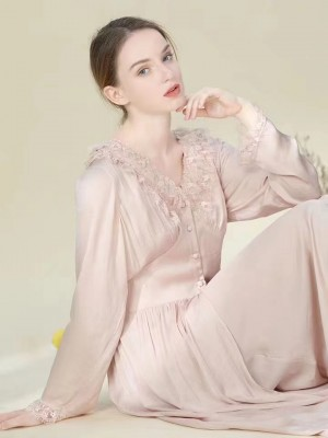 Autumn Sleepwear Robe Women Long Sleeve Sleep Lounge Two Piece Vintage Robe Nightgown Set Lady Nightgowns & Sleepshirts