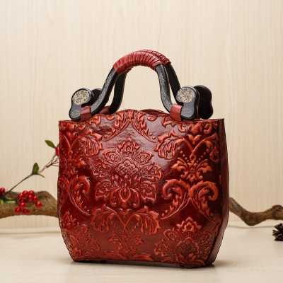 Fashion Embossed Woman Tote Genuine Leather Women Shoulder Bags Style Vintage Lady Handbags National Red Totes Sac Femme