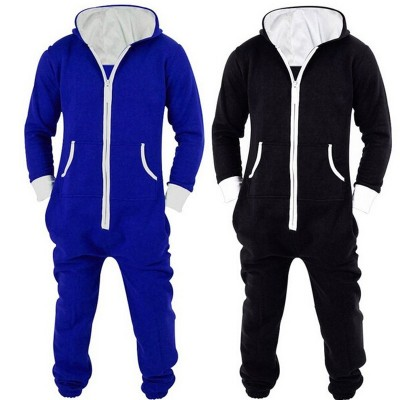 Adults Unisex Onesies Pyjamas Mens Women One Piece Cotton Pajamas Sleepwear Onesies Sleepsuit Black/Blue