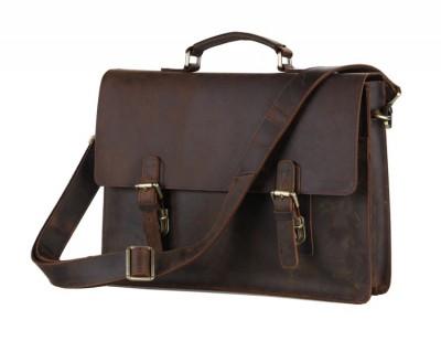 Top Quality Vintage Genuine Leather Bag Crazy Horse Leather Men Messenger Bags Portfolios Briefcase 14'' Laptop bag #VP-J7223