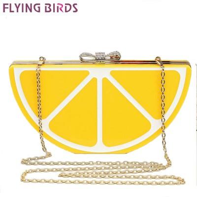 FLYING BIRDS !2015 Popular women handbags Banquet clutch evening bags messenger bags chain shoulder purse fruit style bag LS5495