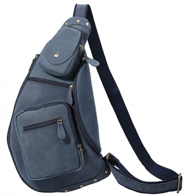 New ORIGINAL Polare Cool Real Blue Leather Cross Body Sling Bag Chest Bag Backpack Large